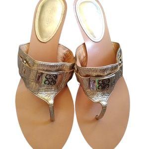 Coach Alberta Gold Metallic Leather Heeled Sandals